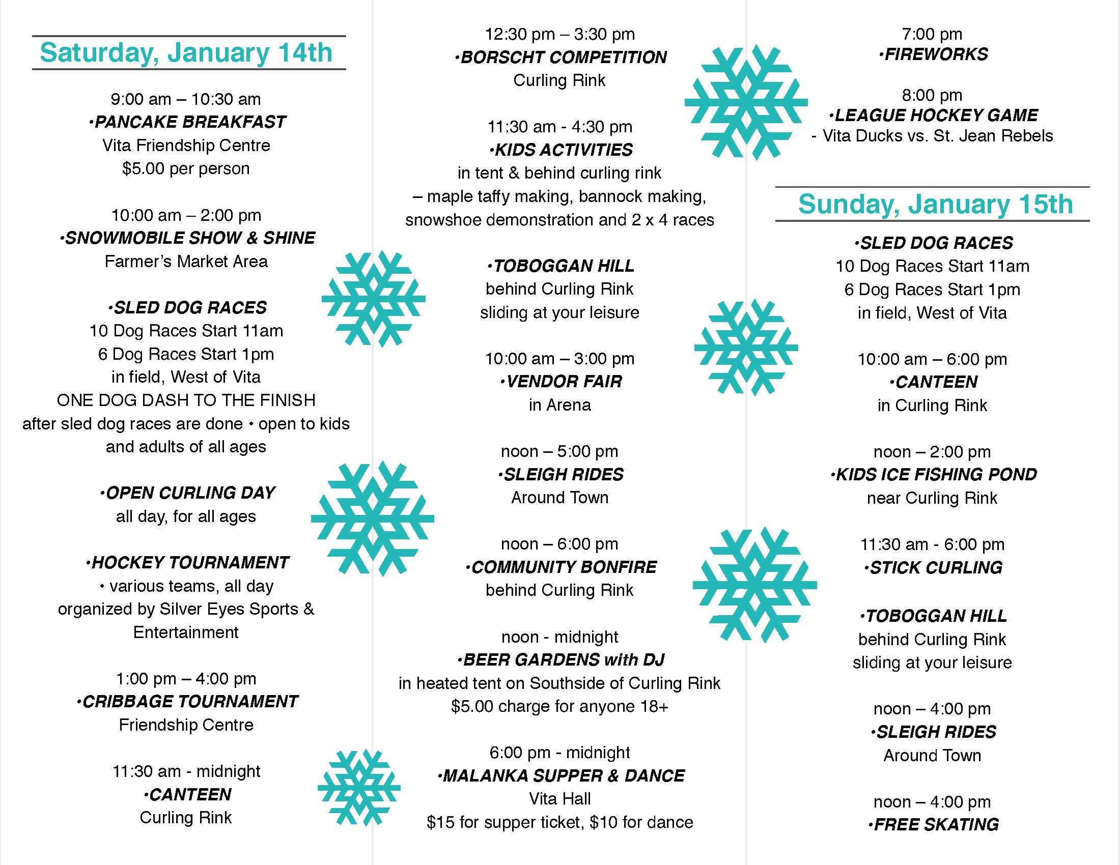 Vita & Area Festival Detailed Program